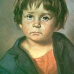 """Enfant pleurant"" du peintre italien Giovani Bragolin..."